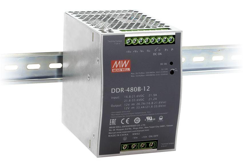 DDR-480 DIN skinne fra Mean Well. Forhandler er Power Technic ring 70 208 210